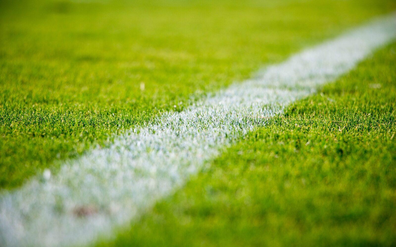 White line on soccer field