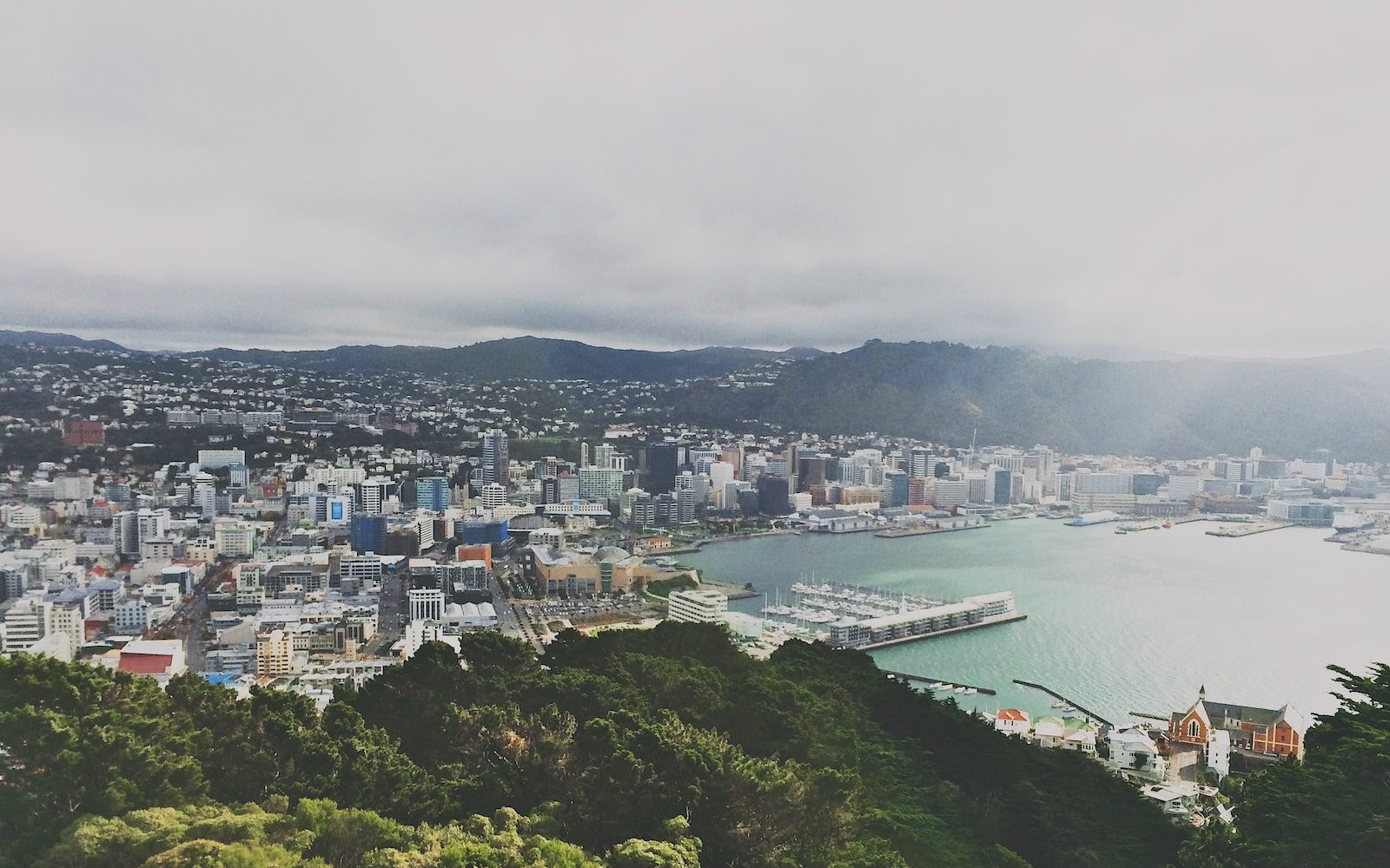 Aerial shot of Wellington from Mt Victoria, Wellington