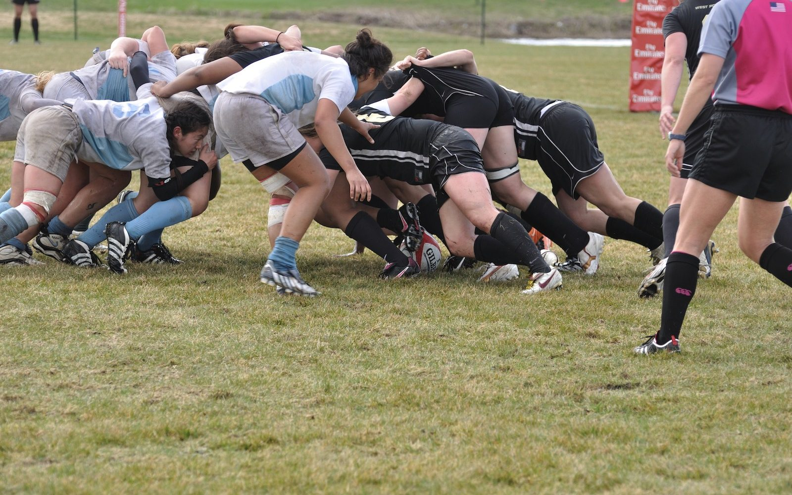 BLAINE, MN - APRIL 30: A scrum in a women's collegiate rugby match between Army and the North Carolina Tar Heels in the NCAA Division I College Championship quarterfinals on April 30, 2011 in Blaine, MN