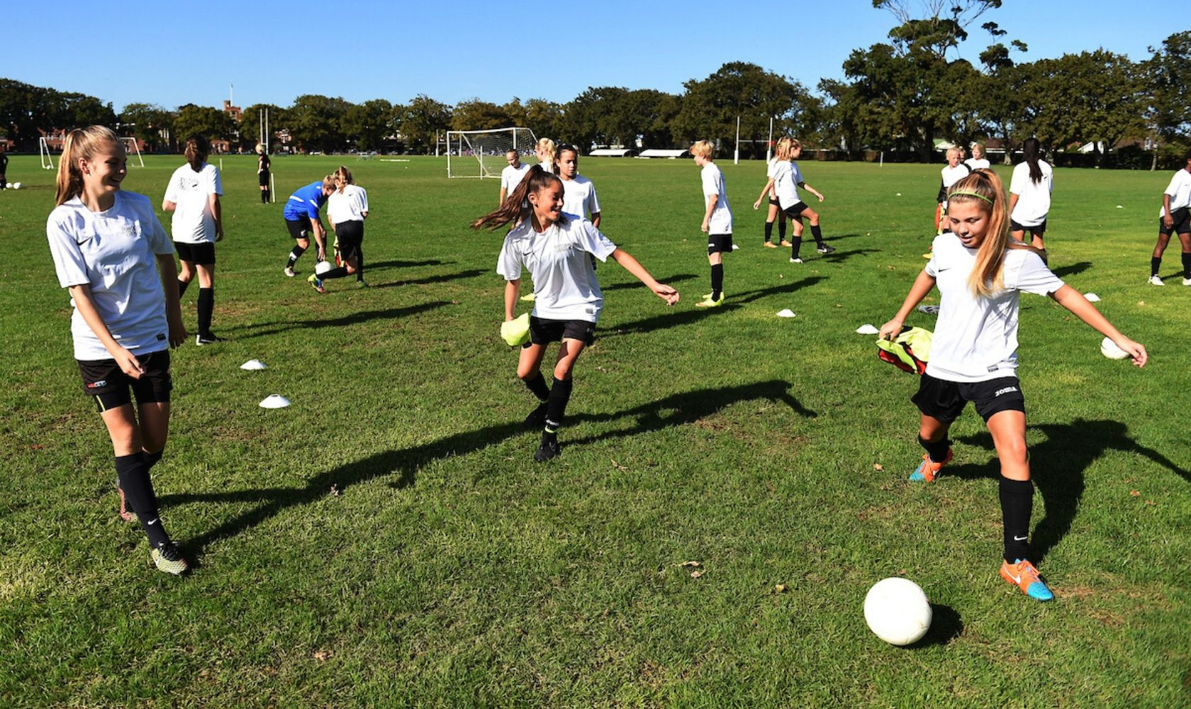 girls training soccer